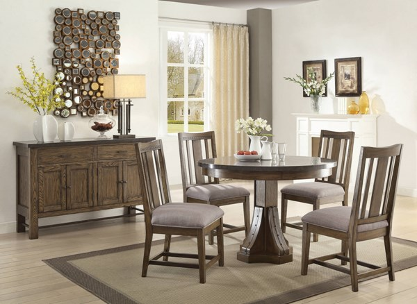 Willowbrook Rustic Ash Gunmetal Grey Wood Fabric 5pc Dining Room Set CST-10698-DR-S1