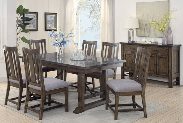 Willowbrook Rustic Ash Gunmetal Grey Wood Fabric 7pc Dining Room Set CST-10698-DR-S2
