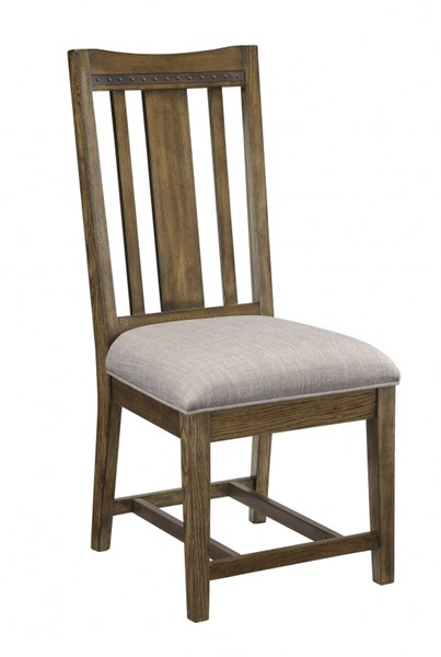 2 Willowbrook Craftsman Light Grey Fabric Wood Dining Chairs CST-106982