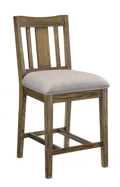 2 Willowbrook Crafted Solid Ash Wood Grey Fabric Counter Height Chairs CST-106989
