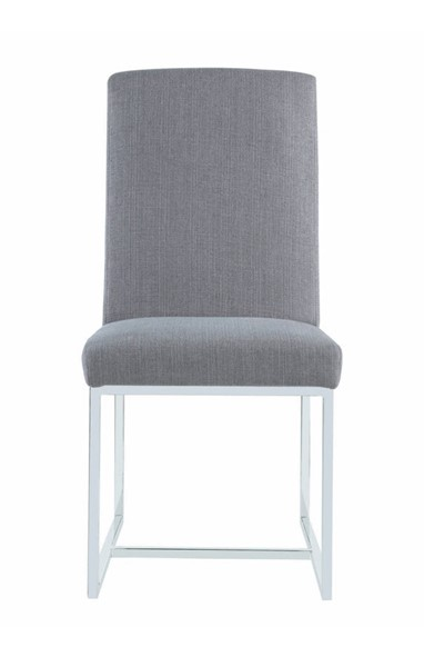 2 Coaster Furniture Grey Cushion Stainless Frame Dining Chair CST-107143
