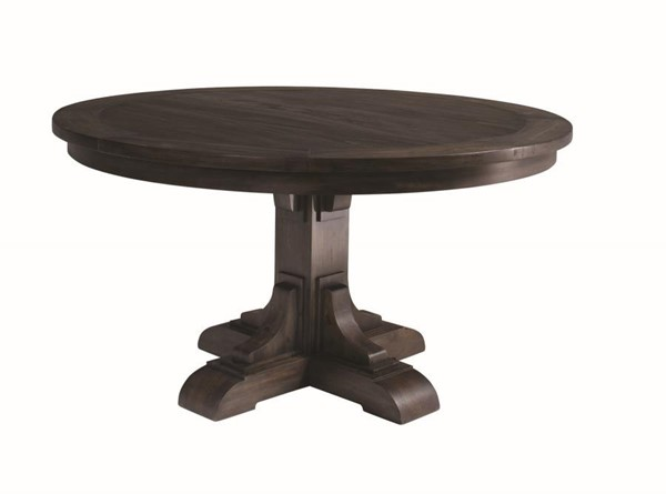Coaster Furniture Weber Smokey Black Hardwood Pedestal Dining Table CST-107280