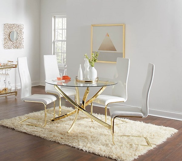 Coaster Furniture Chanel Gold White 5pc Dining Room Set CST-10844-DR-S1