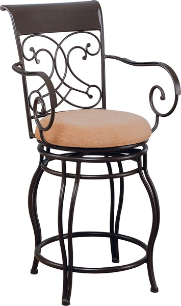 Transitional Brown Metal Cross Back Bar Stool CST-120020