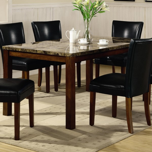 Transitional Cherry Wood Marble Dining Table CST-120310