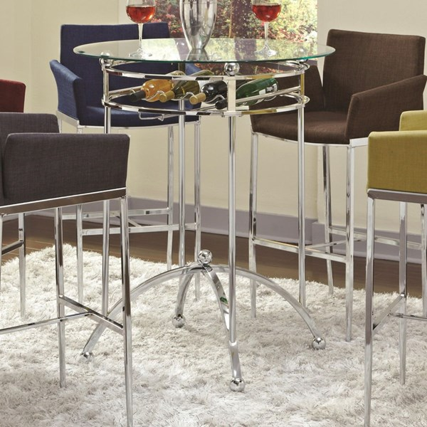 Contemporary Chrome Metal Glass Bar Table CST-120335