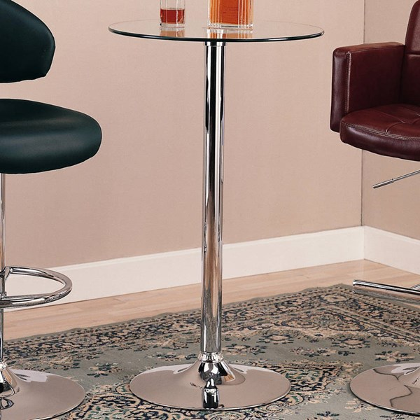 Contemporary Chrome Metal Round Bar Table CST-120341