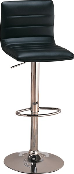 2 Contemporary Black Faux Leather Adjustable Bar Stools CST-120344