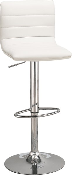 2 Contemporary White Faux Leather Adjustable Bar Stools CST-120345