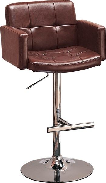 Contemporary Chrome Brown Metal Low Back Bar Stool CST-120348