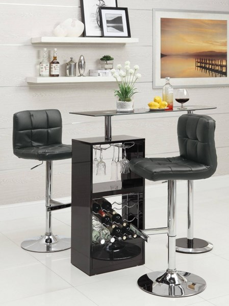 Contemporary Black Glass Chrome Wood Storage Bar Table CST-120451