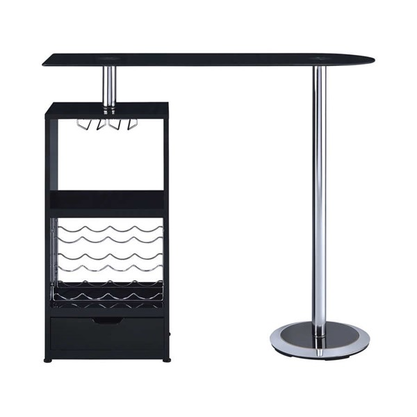 Coaster Furniture Glossy Black Glass Top Bar Table CST-120451