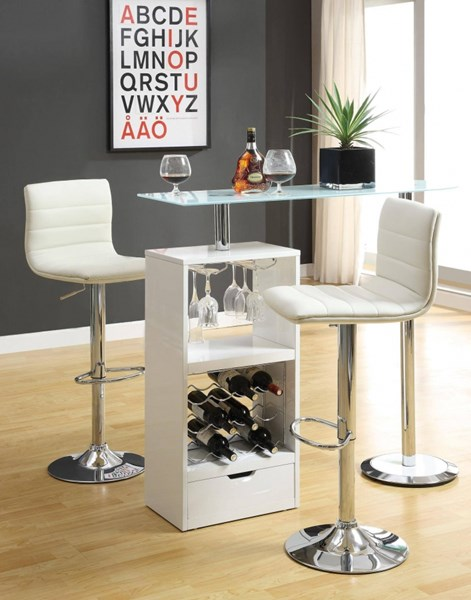 Contemporary Glossy White Glass Wood Bar Table CST-120452