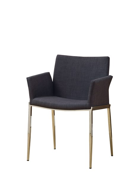 2 Nameth Contemporary Charcoal Chrome Fabric Side Chairs CST-120722