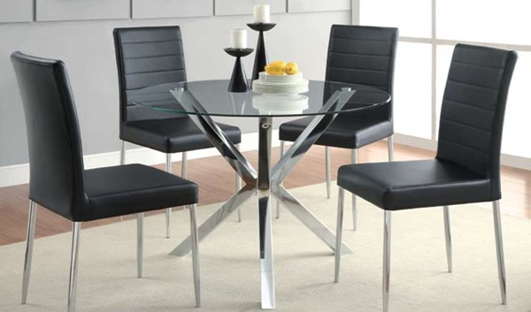 Vance Modern Chrome Metal Glass Dining Room Set CST-120760-DR