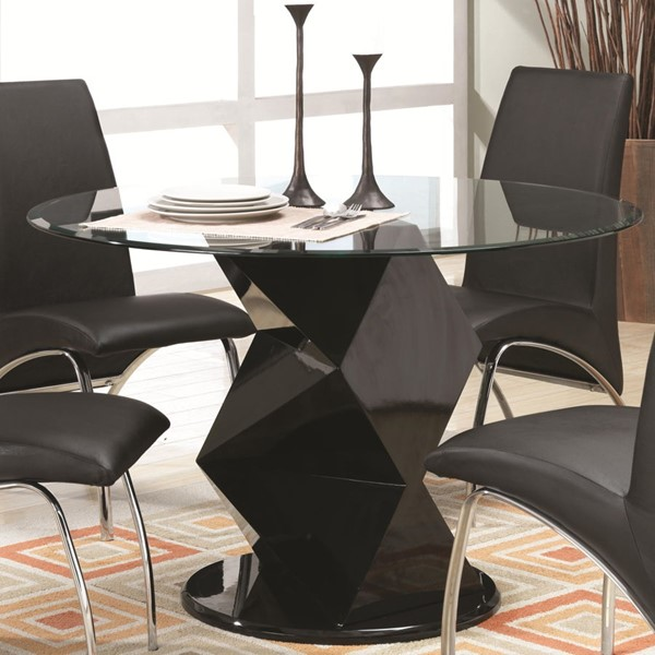 Ophelia Contemporary Black Glass Solid Top Dining Table CST-120800