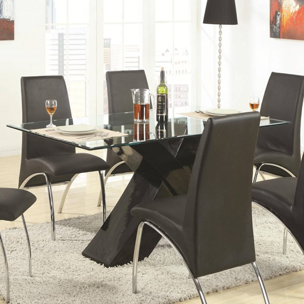 Ophelia Black Glass Cross Base Dining Table CST-120811