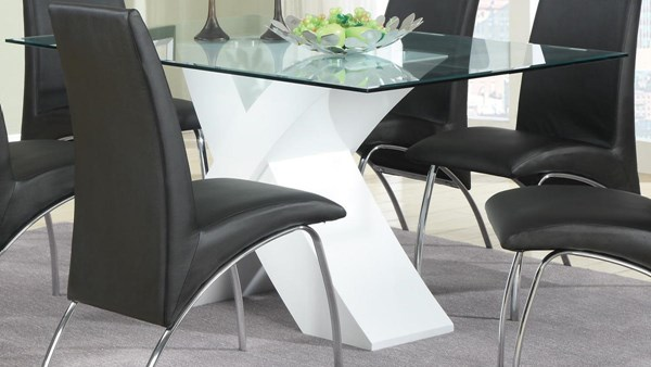 Ophelia White Glass Solid Top Dining Table CST-120821