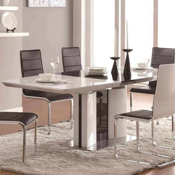 Broderick Contemporary White Chrome Dining Table CST-120941