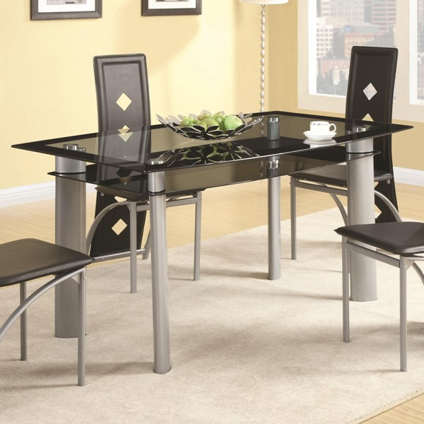 Fontana Contemporary Metal Glass Dining Table CST-121051