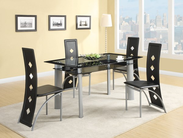 Fontana Contemporary Metal Glass 5pc Dining Table Set CST-121051DS5