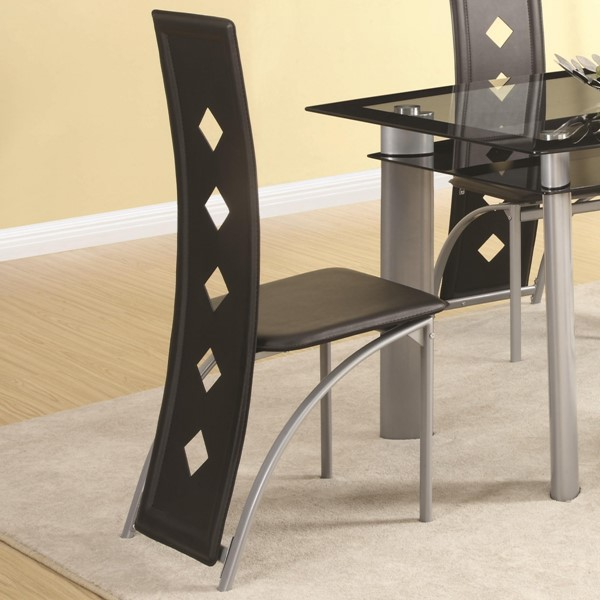 2 Fontana Contemporary Metal Glass Dining Chairs CST-121052