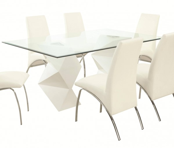 Ophelia Contemporary White Glass Metal Dining Table CST-121571