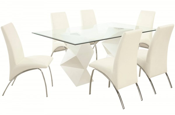 Ophelia Contemporary White Glass Metal 7pc Dining Room Set CST-121571-DR-S