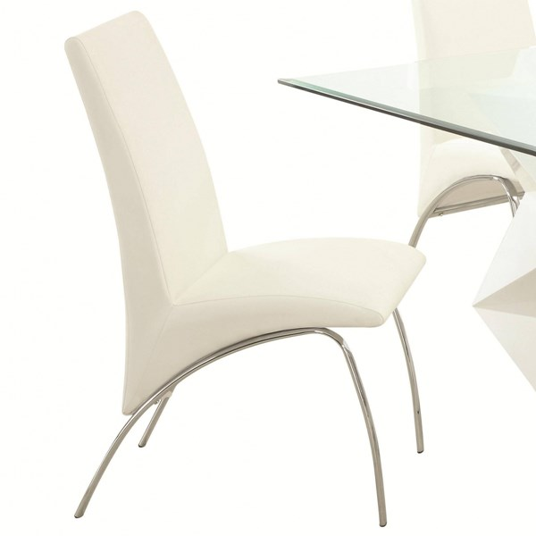 2 Ophelia Contemporary White Leatherette Metal Side Chairs CST-121572