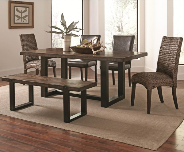 Westbrook Country Brown Black Wood Woven Faux Leather Dining Room Set CST-121641-DR