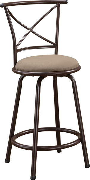 2 Casual Brown Metal Fabric Cross Back 24 Inch Bar Stools CST-122029
