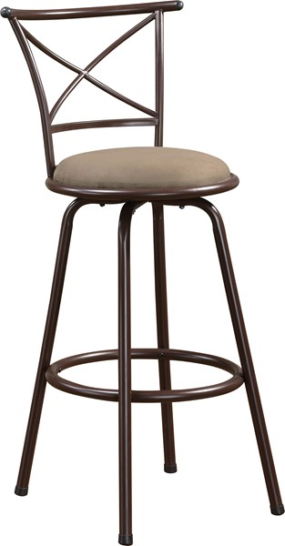 2 Casual Brown Metal Fabric Cross Back Bar Stools CST-122030