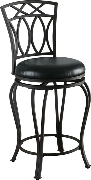 Casual Black Metal Faux Leather Swivel Bar Stool CST-122059