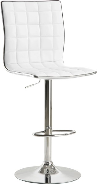 2 Contemporary White Metal Fabric Bar Stools CST-122089
