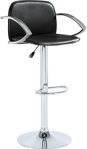 Casual Black Leather Like Vinyl Seat & Chrome Arms Bar Stool CST-122093