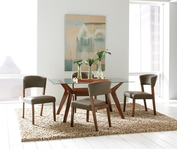 Paxton Modern Nutmeg Wood Faux Leather Dining Room Set CST-122171-DR
