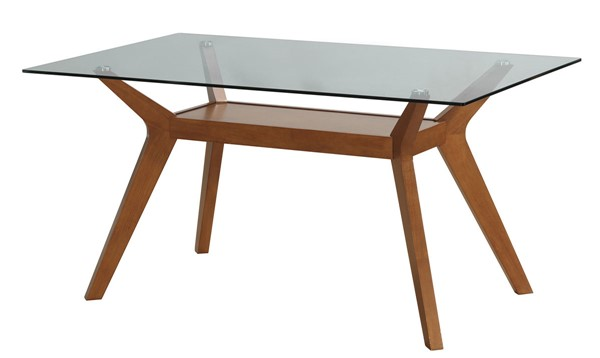 Paxton Modern Nutmeg Wood Glass Rectangle Dining Table CST-122171-DT