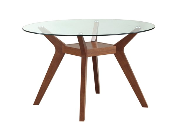 Paxton Modern Nutmeg Wood Glass Round Dining Table CST-122180-DT
