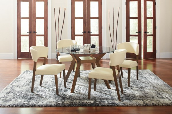 Paxton Wood Faux Leather 5pc Dining Room Set w/Round Dining Table CST-122180-DR-S1