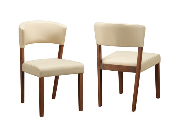 2 Paxton Modern Cream Nutmeg Wood Faux Leather Dining Chairs CST-122182