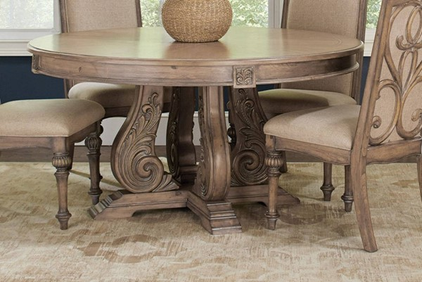 Coaster Furniture Ilana Antique Linen Solidwood Round Dining Table CST-122210