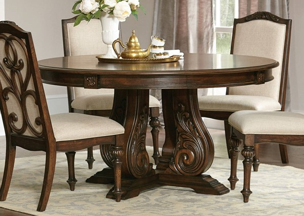 Coaster Furniture Ilana Antique Java Solidwood Round Dining Table CST-122250