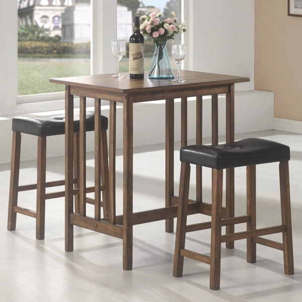 Casual Brown Wood 3pc Counter Height / Bar Set CST-130004