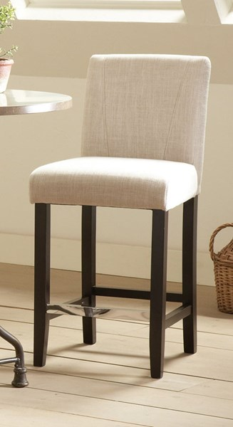 2 Lahner Ivory Wood Low Back Dining Stools w/Foot Rest CST-130063