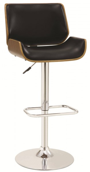 Contemporary Black Wood Chrome Adjustable Bar Stool CST-130502