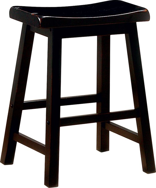 2 Black Wood Backless & Armless 24 Inch Bar Stools CST-180019