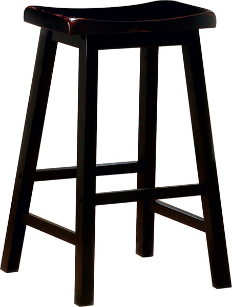 2 Black Wood Backless & Armless 29 Inch Bar Stools CST-180029