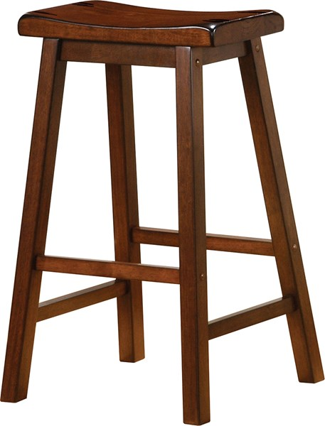 2 Transitional Chestnut Wood Backless Bar Stools CST-180079