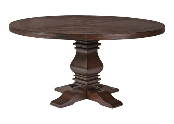 Coaster Furniture Florence Rustic Brown Wood Round Dining Table CST-180310