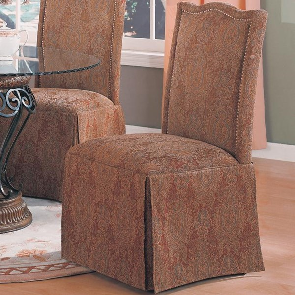 2 Slauson Traditional Brown Beige Fabric Side Chairs CST-1900-DC-VAR